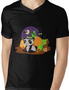 Halloween Panda Mens V-Neck T-Shirt