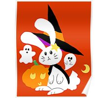 Halloween Witch Bunny Poster