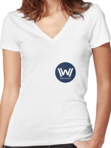 Westworld - Small Blue Logo Women's Fitted V-Neck T-Shirt