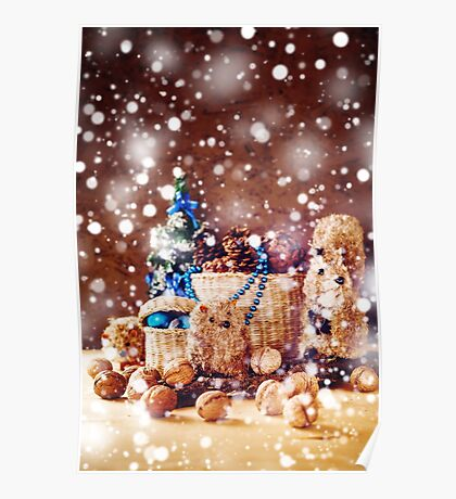 Christmas with Hand Made Toys and Presents Poster