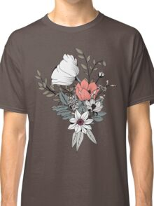 Seamless pattern design with hand drawn flowers and floral elements, gray Classic T-Shirt
