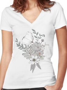 Seamless pattern design with hand drawn flowers and floral elements, white Women's Fitted V-Neck T-Shirt