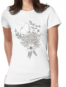 Seamless pattern design with hand drawn flowers and floral elements, white Womens Fitted T-Shirt