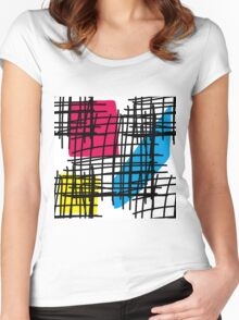 Messy Mondrian Women's Fitted Scoop T-Shirt