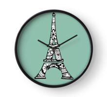 Eiffel Tower Paris Pattern Green Clock