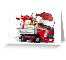 cartoon delivery Christmas truck Greeting Card