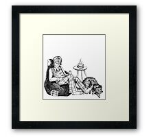 Remus, a Cup of Tea, and a Black Dog Framed Print