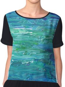 Abstract Painting in Blue and Green Chiffon Top
