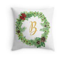 Christmas Monogram B Throw Pillow