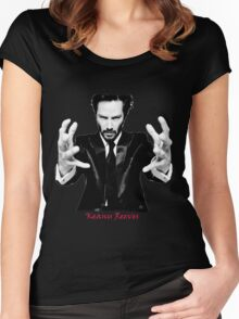 Keanu Reeves the Actor Black and White Women's Fitted Scoop T-Shirt