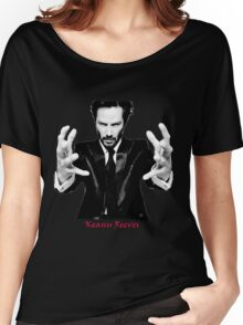 Keanu Reeves the Actor Black and White Women's Relaxed Fit T-Shirt