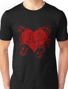 Red Tribal Heart Unisex T-Shirt