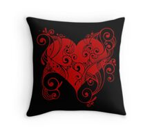 Red Tribal Heart Throw Pillow