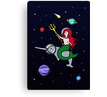 Mermaid Riding Narwhal In Space Canvas Print