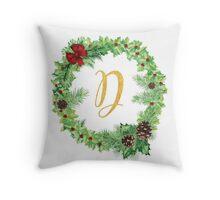 Christmas Monogram D Throw Pillow