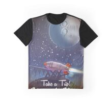 Take a Trip! Visit the Moon vintage cartoon poster of a space rocket ready to blast off to the lunar surface on a voyage of exploration. Graphic T-Shirt