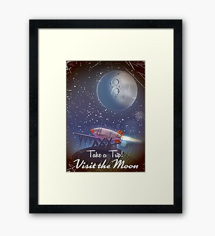 Take a Trip! Visit the Moon vintage cartoon poster of a space rocket ready to blast off to the lunar surface on a voyage of exploration. Framed Print
