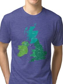 Map of Great Britain and Ireland Tri-blend T-Shirt