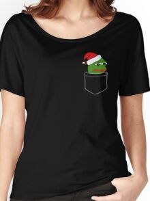 Pocket Sad Santa Pepe Frog Women's Relaxed Fit T-Shirt