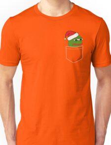 Pocket Sad Santa Pepe Frog Unisex T-Shirt