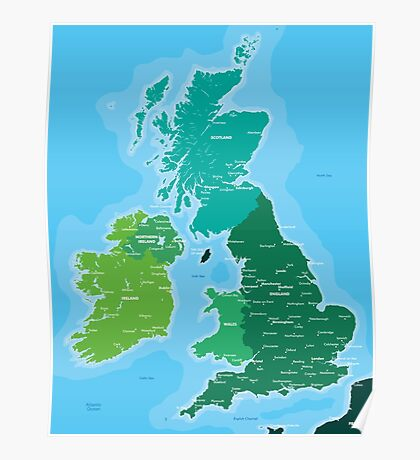 Map of Great Britain and Ireland Poster