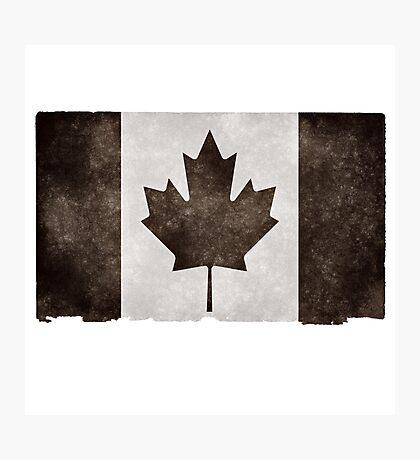 Canadian Flag Black Photographic Print