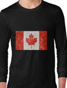 Canadian Flag Grunge Effect Long Sleeve T-Shirt