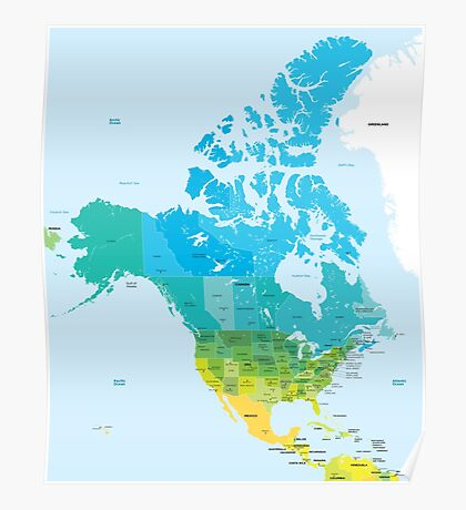 Map of the USA and Canada Poster