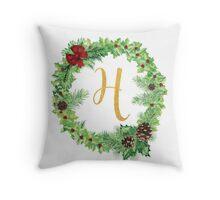 Christmas Monogram H Throw Pillow
