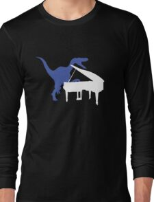 Velociraptor Playing Piano Long Sleeve T-Shirt