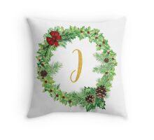 Christmas Monogram I Throw Pillow