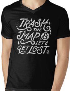Trash the Map & Let's Get Lost - Travel Adventure Design (white) Mens V-Neck T-Shirt