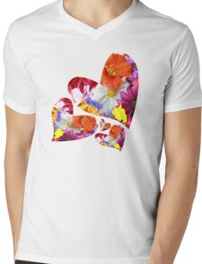 Flower hearts Mens V-Neck T-Shirt