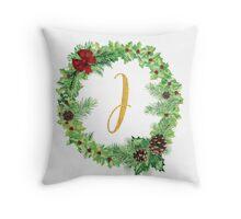 Christmas Monogram J Throw Pillow