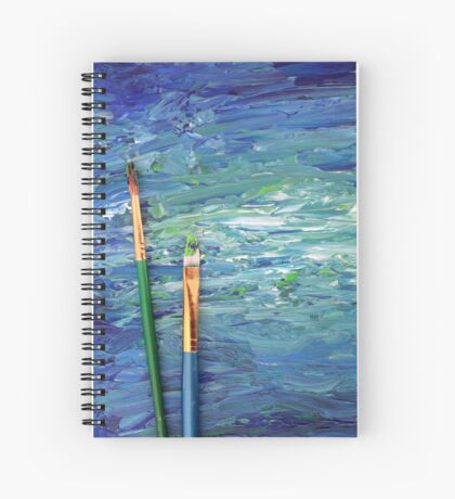 Abstract Painting With Paint Brushes in Blue and Green Spiral Notebook