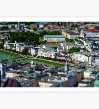 Tilt-shift aerial view to Salzburg, miniature effect, Austria Sticker