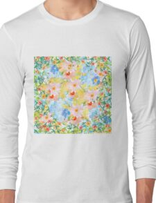 Pink blue yellow watercolor botanical floral Long Sleeve T-Shirt