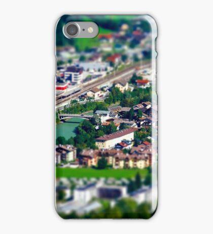 Tilt-shift aerial view of little austrian city in the valley, Austria, summer iPhone Case/Skin