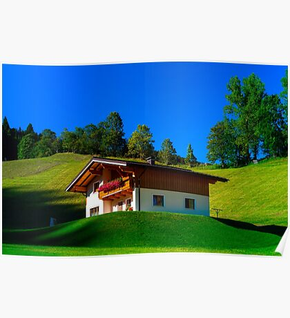Guesthouse in calm place, mountains and nature, Austria, tourism concept Poster