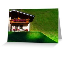 Guesthouse in calm place, mountains and nature, Austria, tourism concept Greeting Card