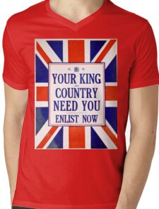 Vintage poster - Your King and Country Need You Mens V-Neck T-Shirt