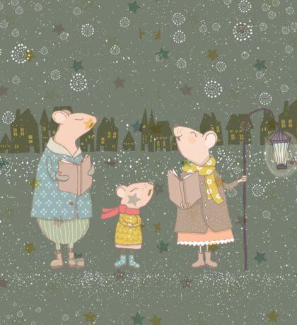 Cute Christmas Mice Family Winter Scene Sticker