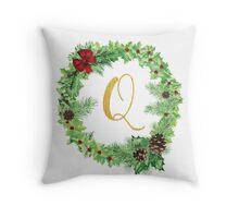 Christmas Monogram Q Throw Pillow