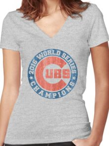 CUBS 2016 WORLD SERIES CHAMPIONS VINTAGE DISTRESSED Women's Fitted V-Neck T-Shirt