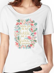 Little & Fierce on Charcoal Women's Relaxed Fit T-Shirt