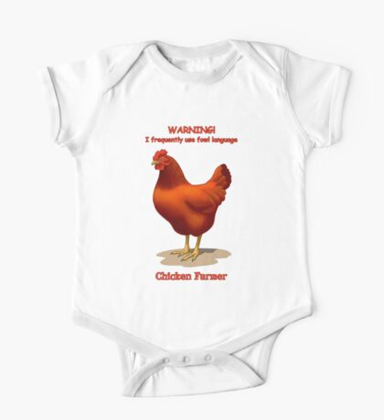 Funny Fowl Language Chicken Farmer Red Hen One Piece - Short Sleeve