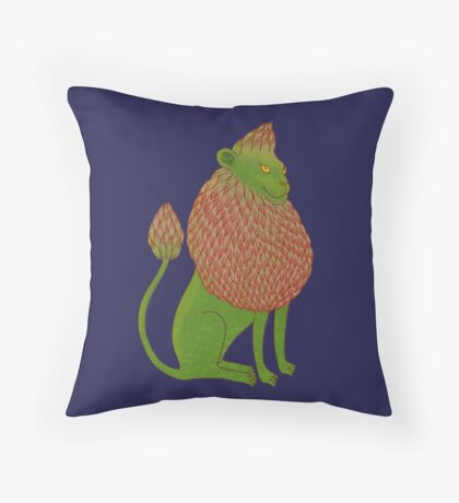 Asparagus Lion, King of the Vegetables Throw Pillow