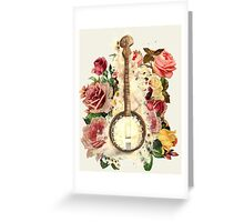 Painted Banjo with Roses Greeting Card