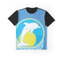 Dolphin Sun Yellow Graphic T-Shirt