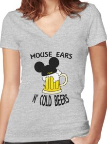 Mouse Ears N' Cold Beers (Epcot version) Women's Fitted V-Neck T-Shirt
